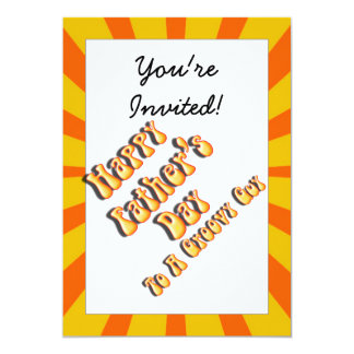 Retro Father's Day For a Groovy Guy (Orange/Gold) 5x7 Paper Invitation Card