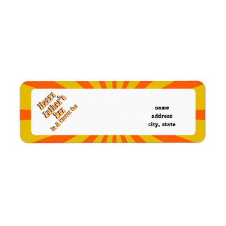 Retro Father's Day For a Groovy Guy (Orange/Gold) Return Address Label
