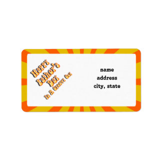 Retro Father's Day For a Groovy Guy (Orange/Gold) Address Label