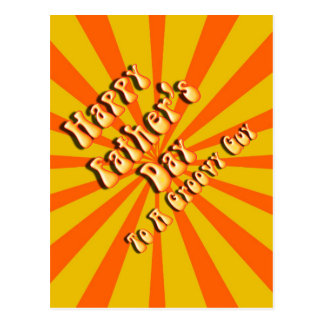 Retro Father's Day For a Groovy Guy (Orange/Gold) Postcard