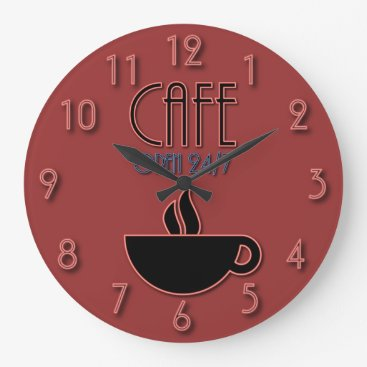 Coffee Themed Retro Faux Neon Cafe Open 24 7 Red and Blue Large Clock