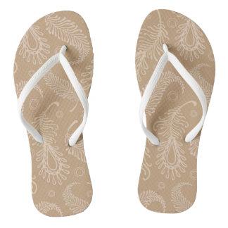 Retro-feater-pale-pattern Flip Flops