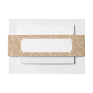 Retro-feater-pale-pattern Invitation Belly Band