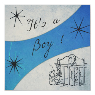 Retro feeling - It's a Boy announcement Card