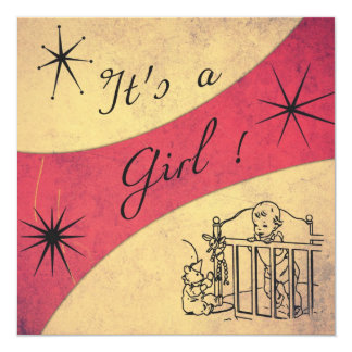 Retro feeling - It's a Girl announcement Card