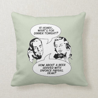 Retro Feminist Humor Throw Pillow
