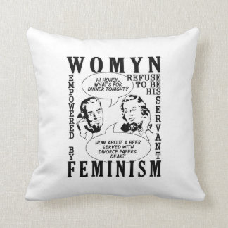 Retro Feminist Humor throw pillow