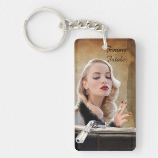 Retro Femme Fatale Diva - Smoking and Guns Keychain