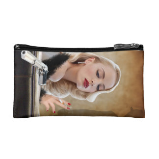 Retro Femme Fatale Diva - Smoking and Guns Makeup Bag