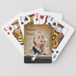 Retro Femme Fatale Diva - Smoking and Guns Playing Cards