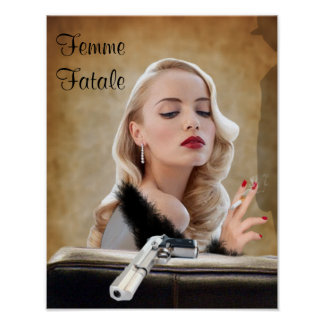 Retro Femme Fatale Diva - Smoking and Guns Poster