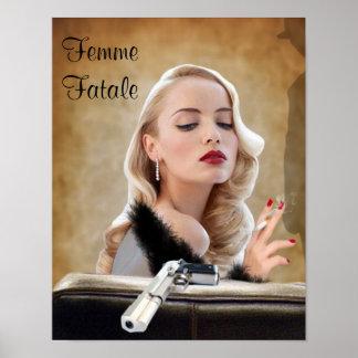 Retro Femme Fatale Diva - Smoking and Guns Poster
