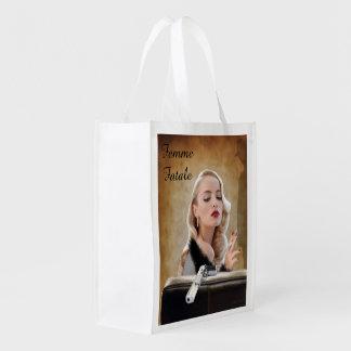 Retro Femme Fatale Diva - Smoking and Guns Reusable Grocery Bag