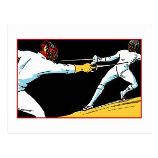 Retro fencing championship ad post card