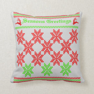 Retro Festive Christmas Holiday Pattern Throw Pillow