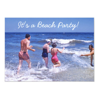 Retro Fifties Blue Beach Waves Vintage Swimsuits Card