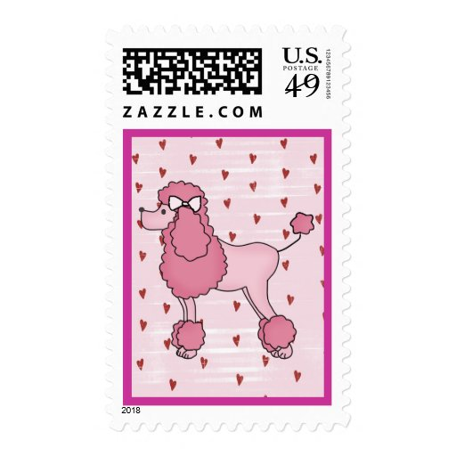 Retro Fifties Pink Poodle Postage Stamp
