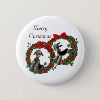 Retro Fifties Poodles in Christmas Wreaths Button