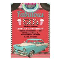 Retro Fifties Vintage Classic Car 50's 50 Party Invitation