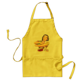Retro fifties woman, canned vegetables adult apron