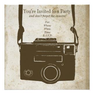 Retro Film Camera on Antique Paper Custom Announcements