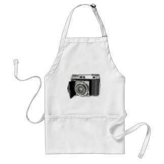 Retro Film Camera Photography Drawing Sketch Adult Apron