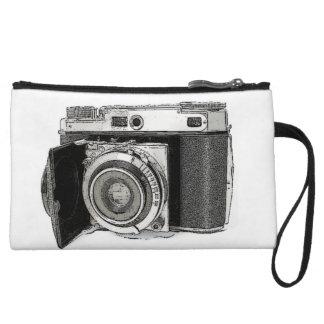 Retro Film Camera Photography Drawing Sketch Wristlet Purses