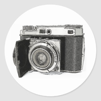 Retro Film Camera Photography Drawing Sketch Classic Round Sticker