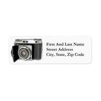 Retro Film Camera Photography Drawing Sketch Label