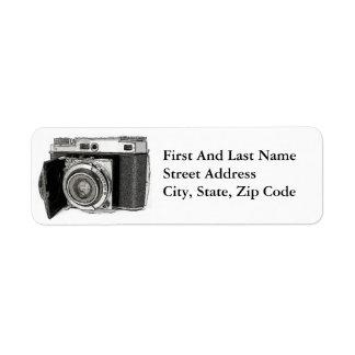 Retro Film Camera Photography Drawing Sketch Label