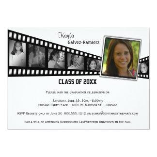 """Retro Film Strip Graduation Party Photo Invite 5"""" X 7"""" Invitation Card"""