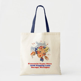 RETRO Firecrackers Fireworks Store Promo Giveaway Canvas Bags