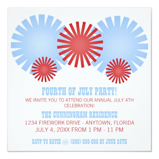 Retro Fireworks Independence Day Party Invite