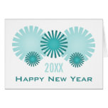 Retro Fireworks New Year's Card, Teal