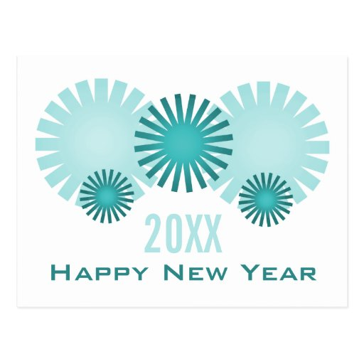 Retro Fireworks New Years Postcard, Teal