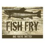 Retro Fish Fry Vintage Fish Food Wood Texture Art Custom Invites