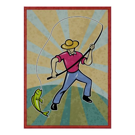 Retro Fisherman catching fish with fishing rod Posters