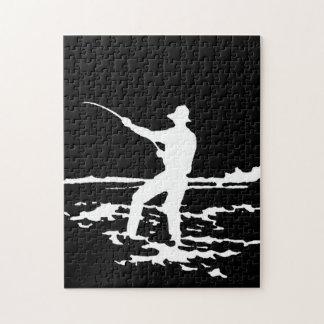 Retro Fisherman Silhouette Jigsaw Puzzle