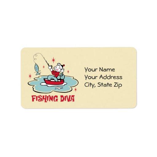 Retro Fishing Diva Label