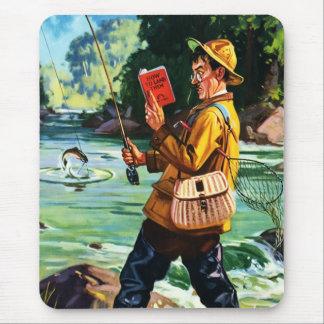 Retro Fishing Scene Illustration Gift Mousepads