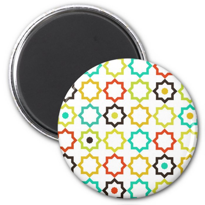 Retro Five Point Star Design 2 Inch Round Magnet