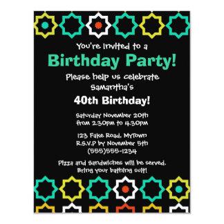Retro Five Point Star Design Black Party Invite