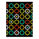 Retro Five Point Star Design - Black Postcard