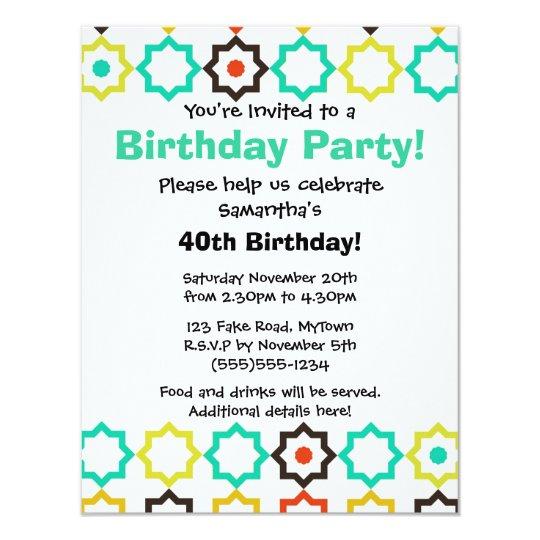 Retro Five Point Star Design White Party Invite