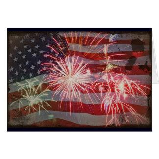 Retro Flag and Fireworks Card
