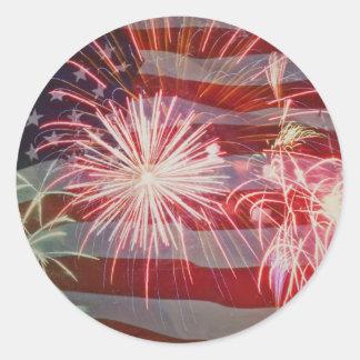 Retro Flag and Fireworks Classic Round Sticker