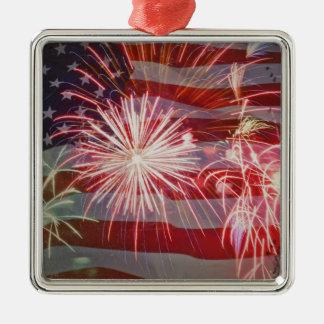 Retro Flag and Fireworks Metal Ornament