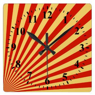 Retro Flame Sun Rays Background Square Wall Clocks