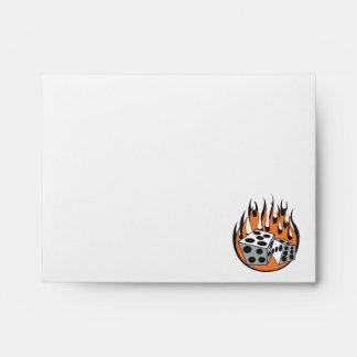 retro flaming dice design envelope