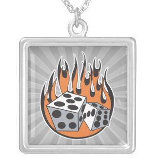 retro flaming dice design square pendant necklace